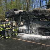 Tractor-Trailer Car Carrier, Vehicles On Board Becoming Fully Engulfed In Flames On I-95
