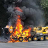 Mobile Crane Goes Up In Flames On Route 80, Fire Truck Involved In Crash