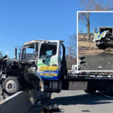 Flatbed Mounts Divider, Concrete Goes Flying In Collision With Garbage Truck In Fair Lawn