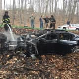 Car Slams Into Boulder, Igniting Fire In Pound Ridge