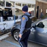 Sedan Slams Into Ridgewood Bank