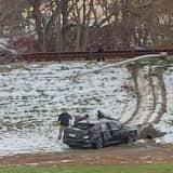 Car Slides Off Garden State Parkway Ramp In Elmwood Park
