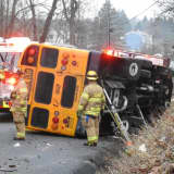 School Bus Driver Airlifted To Westchester Medical Center After Rollover Crash