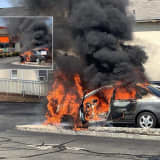 PHOTOS: Car Goes Up In Flames At Lodi Dunkin' Donuts