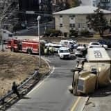 PHOTOS: Toppled Tractor-Trailer Closes Route 80 Ramp In Hackensack