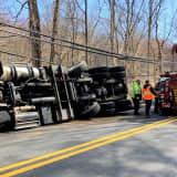 Tipped Rig Dumps Load Of Mulch Near Bergen-Rockland Border