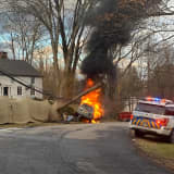 Car Bursts Into Flames After Crashing Into Pole In Northern Westchester