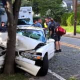 PHOTOS: 1 Hospitalized After Car Plows Into Ridgewood Tree