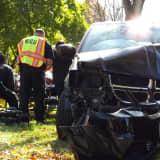 Minivan Slams Into Paramus Tree: Driver Hospitalized, Wheelchair-Bound Passenger OK