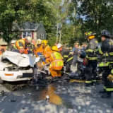 Firefighters Cut Roof Of Car To Rescue Driver In Paramus Crash