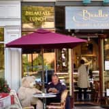 Bear Dines At Larchmont Village In Bradley's
