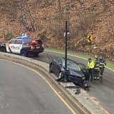 Sedan Slams Into Lamp Post Near Ridgewood Train Station