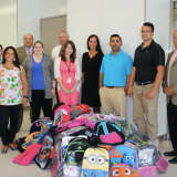 First County Bank Employees In Stamford Gather School Supplies