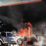 Fire Breaks Out After SUV Slams Into Gas Pump In Rockland