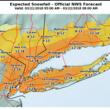 Latest Projected Snowfall Totals For Fourth Nor'easter