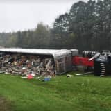 Tractor-Trailer Overturns, Spilling Contents On Route 17