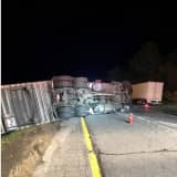 Tractor-Trailer Rollover Causes Hours-Long Lane Closure On I-84