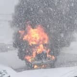 PHOTOS: Sussex County Dump Truck Goes Up In Flames On Route 206