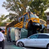 School Bus Lands On Car In Lakewood, 10 Injured
