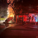 Two-Vehicles Crash Into Central PA House Causing Massive Fire, Police Say