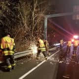 Firefighters Rescue Car That Went Off Road On I-84