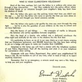 Clarkstown Police Release 1960s Letter For Throwback Thursday