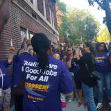 NewYork-Presbyterian Lawrence Hospital Workers Protest In Bronxville