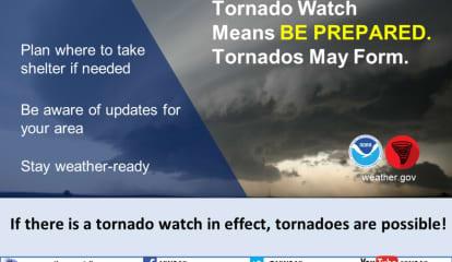 Tornado Watch Now In Effect For Putnam