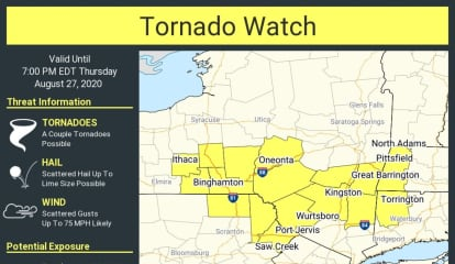Tornado Watch Issued For Parts Of Region, With 70 MPH Wind Gusts, Large Hail Also Possible