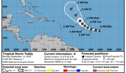 Newly Named Tropical Storm Teddy Expected To Become Hurricane