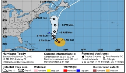 Here's New Projected Timing, Track For Hurricane Teddy, How It Will Affect Parts Of Region