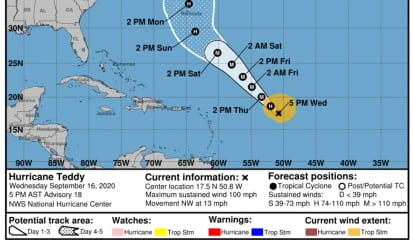 Teddy Upgraded To Hurricane Status, Newly Released Path Takes Storm Toward Northeast