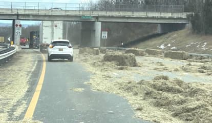 Strewn Bales Of Hay On Thruway Jams Traffic Bound For GS Parkway