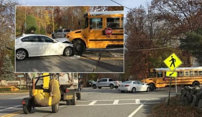 Sedan Flips SUV, Hits Empty School Bus In Mahwah