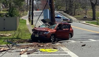 Jeep Splits Pole, Driver Walks Away Without Scratch In Washington Township
