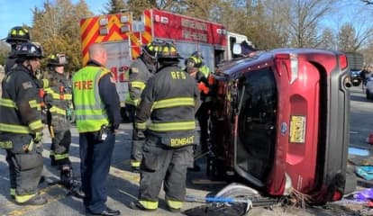 Ridgewood Firefighters Free Driver In Rollover Crash