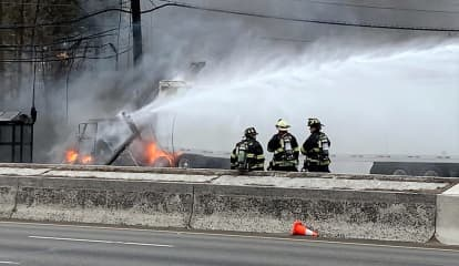 Trucker Escapes Burning Wreck, Downed Wires Close Route 17 Both Ways In Paramus