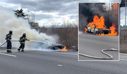 VIDEO: Car Falls Off Tow Truck, Catches Fire On Route 80 In Hackensack