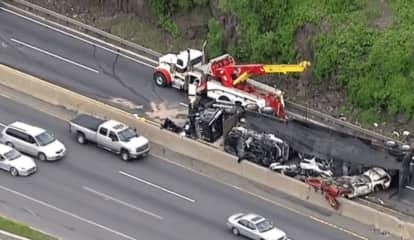 Toppled Car Carrier Spills Junked Heaps Onto I-95 In Fort Lee
