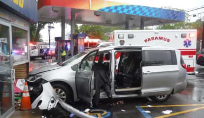 Mini-Van Slams Into Route 17 Gas Station
