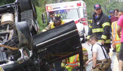 PHOTOS: Allendale Rollover Crash Takes Out Utility Pole