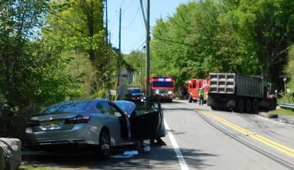 Firefighters Extricate Sedan Driver After Dump Truck Crash In Franklin Lakes