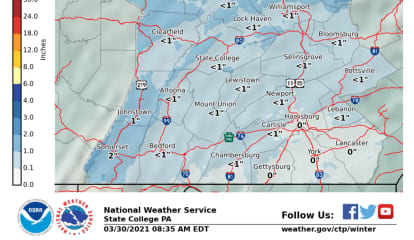 National Weather Service Forecasts Snow This Week In PA