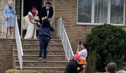 Passaic Florist Stops To Gift Bouquet To Bride, Groom Getting Married On Front Steps
