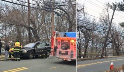Driver Hospitalized After Bogota Utility Pole Crash