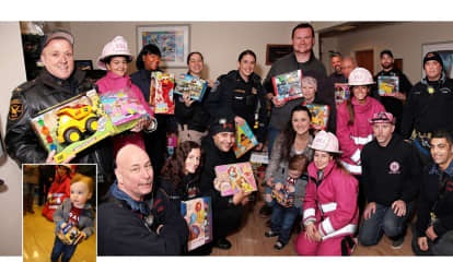 PHOTOS: Pink Heals, Bergen Responders Help Boy, 2, With Cancer Deliver Toys To Ailing Kids