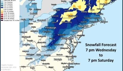 Projected Snowfall Totals Increase As Nor'easter Roars Into Area From The South