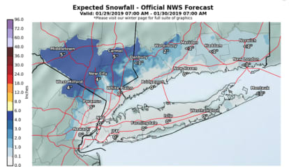 New Accumulation Projections: Here's What Areas Will Get The Most Snowfall