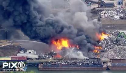 Scrap Metal Fire Sends Smoke Billowing Over Jersey City