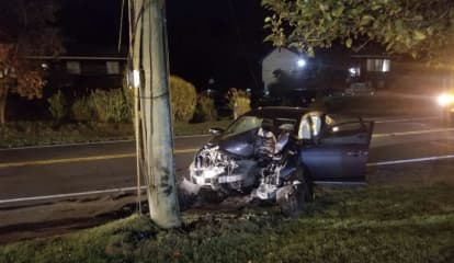 Woman Airlifted After Car Crashes Into Utility Pole On Route 45 In Ramapo